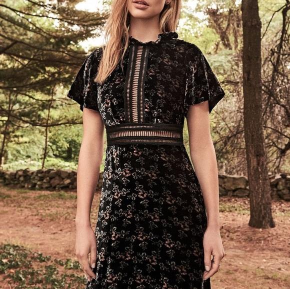 89c7ffd4dbc1 Rebecca Taylor Shadow Floral Velvet Midi Dress